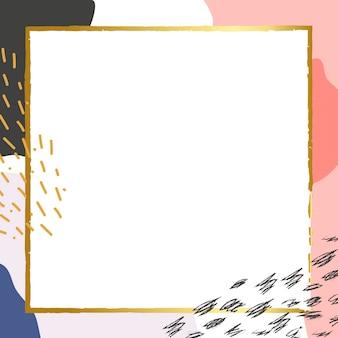 Cornice dorata psd su sfondo di memphis