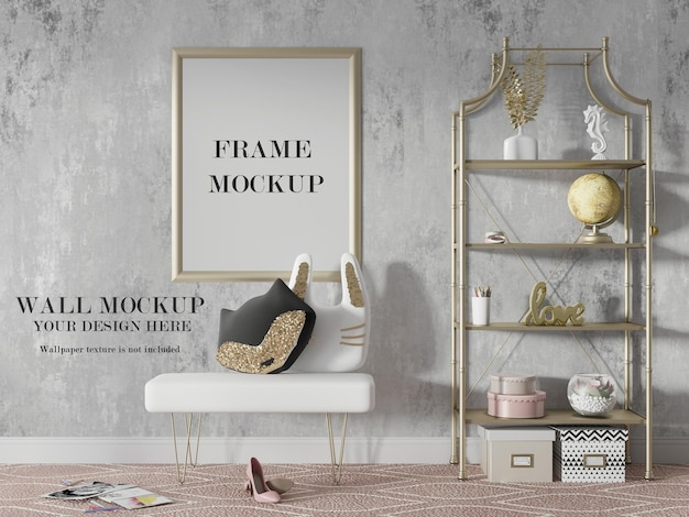 Gold frame and wall mockup in 3d rendering