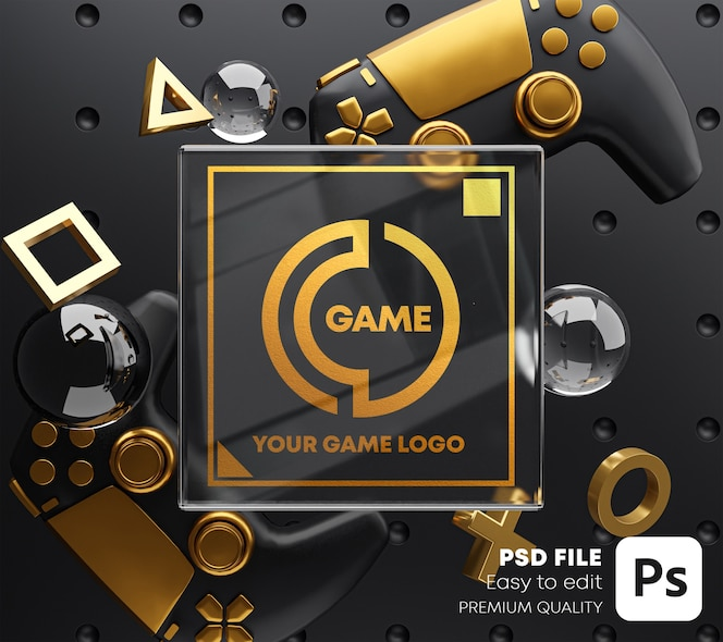 Gold glass logo golden mockup per gamepad