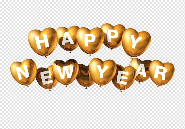 Gold happy new year heart shaped balloons isolated on red