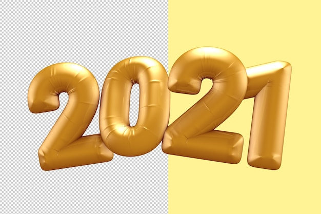 Gold happy new year number 2021 ballons 3d rendering isolated