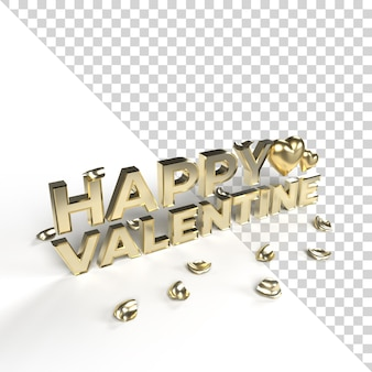 Gold happy valentine 3d words with gold heart and petal isolated