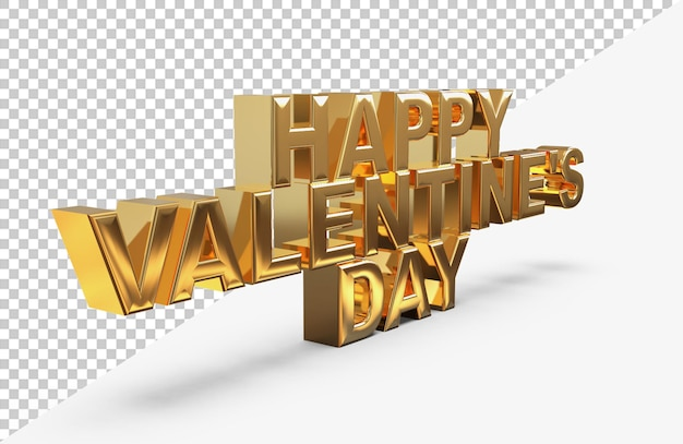Gold happy valentine day lettering 3d rendering isolated