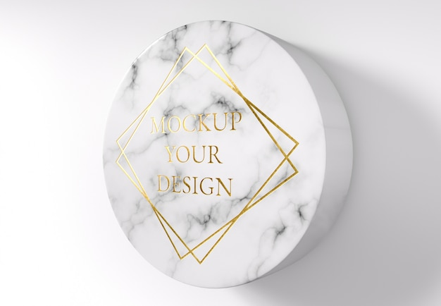 Gold logo mockup on circle marble