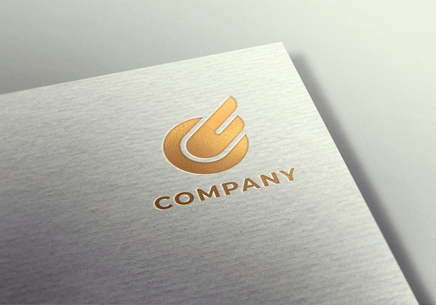 Gold logo mockup on white textured paper