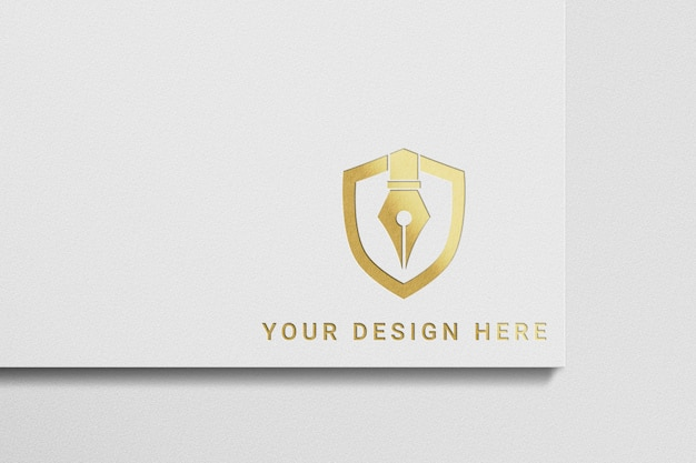 ホワイトペーパーのロゴのモックアップにゴールドのロゴ
