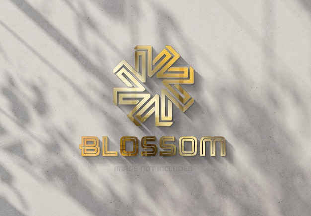 Gold logo on sunny wall with 3d glossy effect mockup
