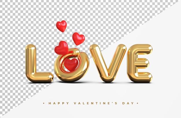 Золотая любовь надписи с символом сердца 3d-рендеринга изолированные