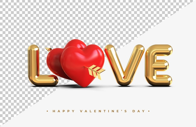 Gold love lettering with red hearts with an arrow of the cupid 3d rendering isolated