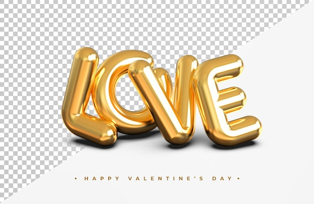 Gold love word in 3d rendering isolated