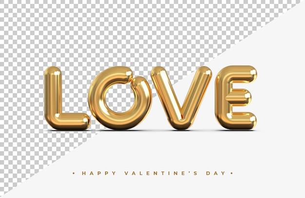 Золотое слово любви в 3d-рендеринге изолированы