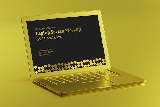 노트북 디스플레이 모형의 골드 럭셔리 표면