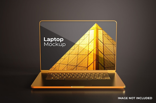 Gold macbook pro mockup front view