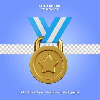 Золотая медаль 3d визуализация иллюстрации изолированные премиум psd