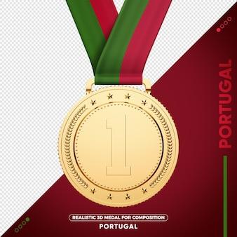 Gold medal flag of portugal for composition