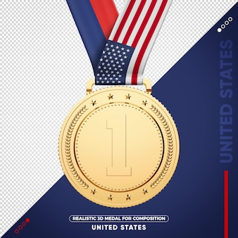 Gold medal flag of united states for composition