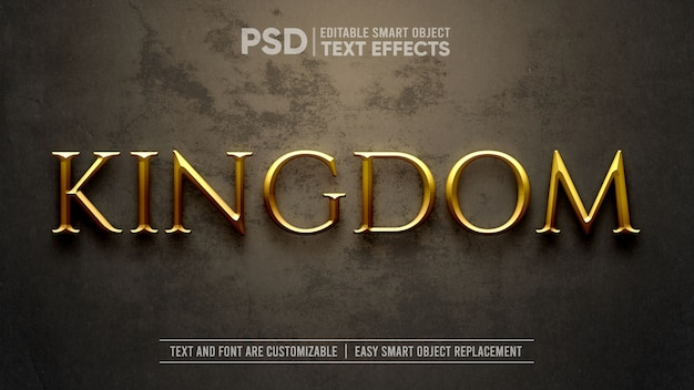 Gold medieval kingdom dramatic text effect mockup