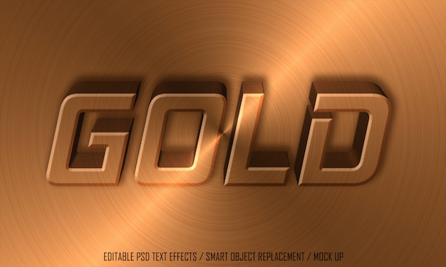 Gold metal effect editable text