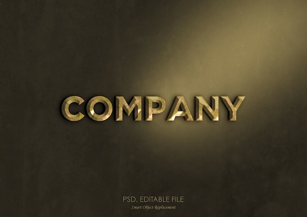 Gold metallic text effect logo mockup