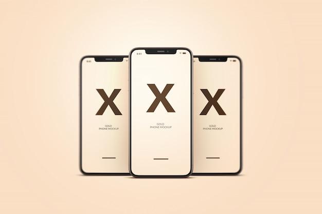 Золотой макет мобильного телефона
