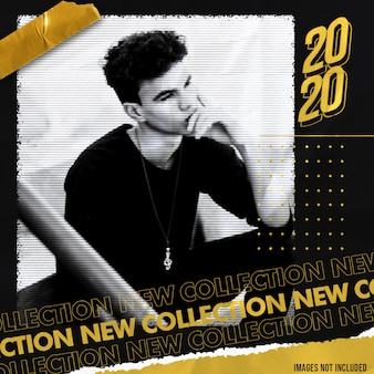 Gold new collection social media banner template with street style effect