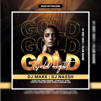 Gold night club party flyer template or  social media pos