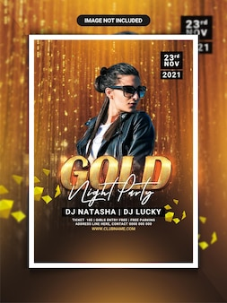 Gold night party flyer template or social media post