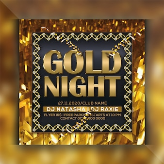 Gold night party flyer template