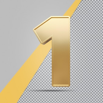골드 번호 1 3d 럭셔리 렌더링