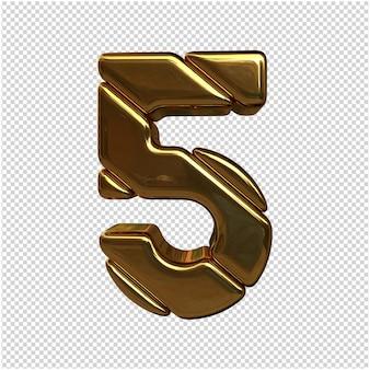 절연 골드 번호 3d 렌더링