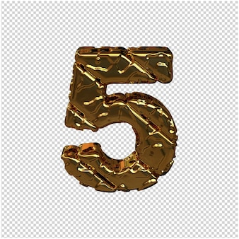 Gold numbers made from rough diagonal blocks. view from above. 3d number 5