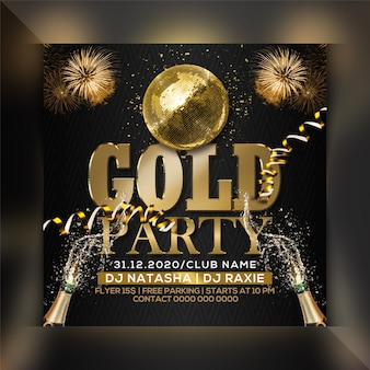 Gold party flyer template