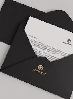 ゴールドパターン封筒ロゴモックアップ