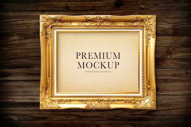 Gold picture frame mockup