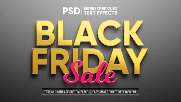 Gold and plastic black friday smart object layer effect
