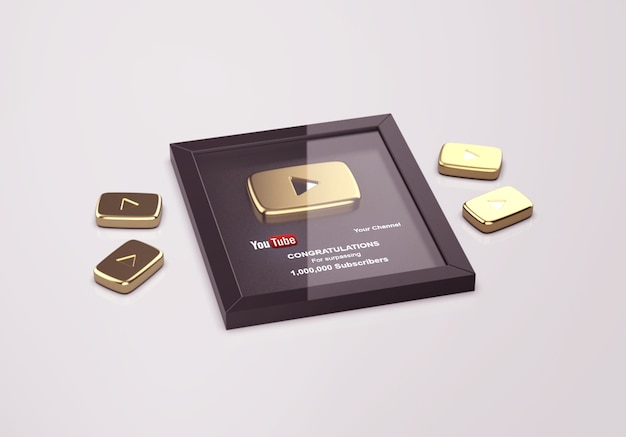 Gold play button youtube mockup