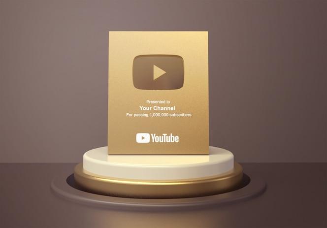 둥근 연단 받침대 모형에 금 재생 버튼 youtube