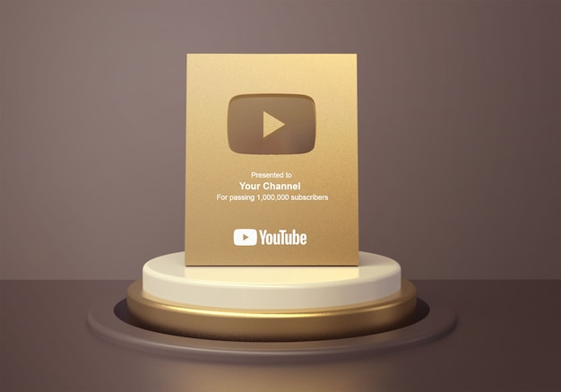 Gold play button youtube on round podium pedestal mockup
