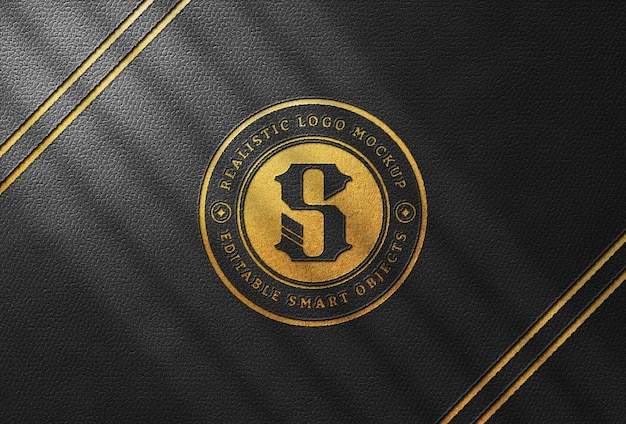 Gold pressed logo mockup on black leather
