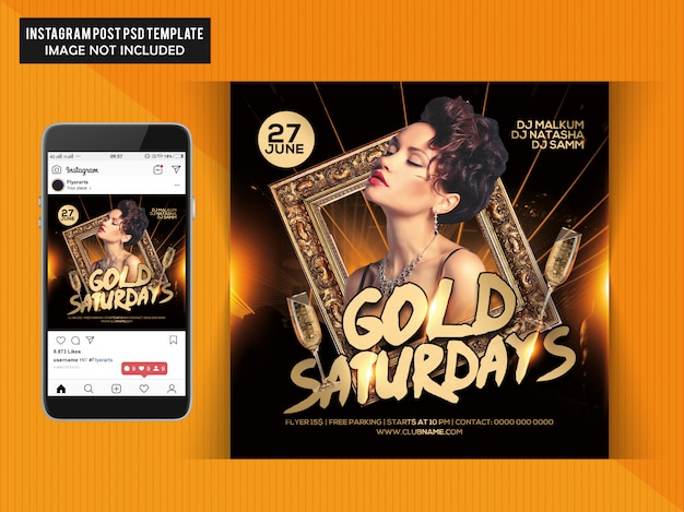 Gold saturdays party flyer