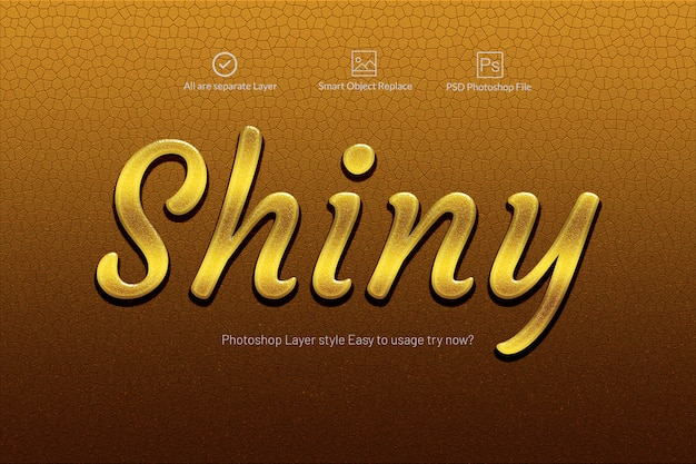 Gold shiny 3d text effect