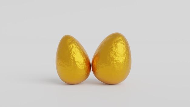 Золотые блестящие пасхальные яйца на пастельном фоне, 3d-рендеринг