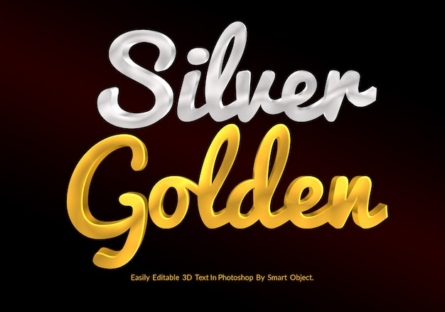 Gold and silver 3d text style mockup premium psd