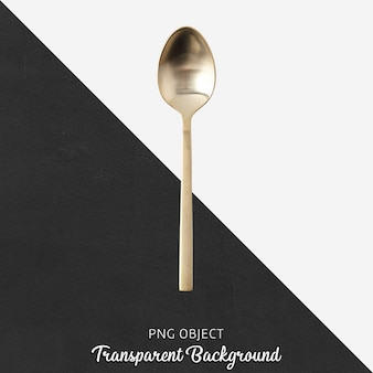 Gold spoon on transparent background