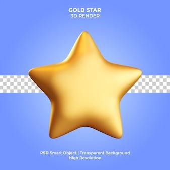 Золотая звезда 3d визуализация иллюстрация изолирована премиум psd