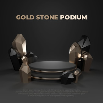 Gold stone 3d 현실적인 연단 제품 프로모션 디스플레이