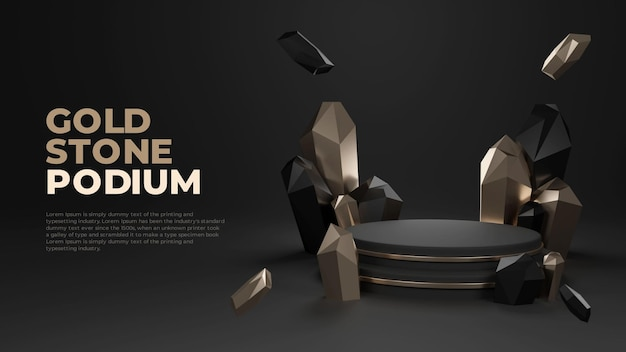 Золотой камень 3d реалистичный подиум промо-дисплей продукта
