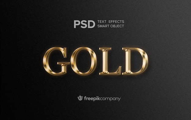 Gold text effect on dark background
