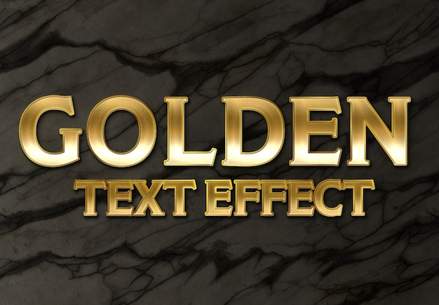 Gold text effect style on marble background mockup