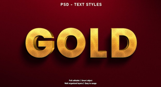 Gold text effect style template